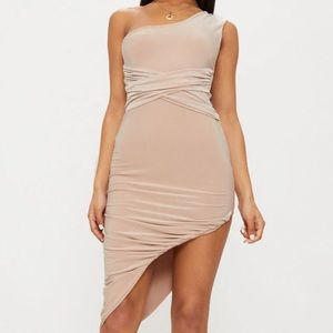 Pretty Little Thing nude one strap dress